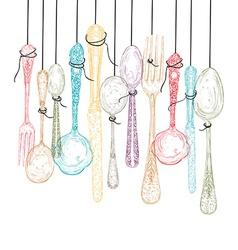 Hanging cutlery elements sketch vector image
