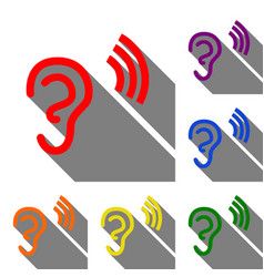 Human ear sign set of red orange yellow green vector