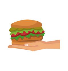 Human hand holding delicious hamburger food vector
