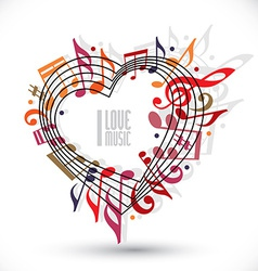 I love music heart made with musical notes and vector image