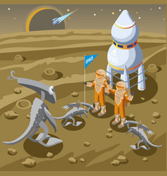 Isometric space discovery template vector