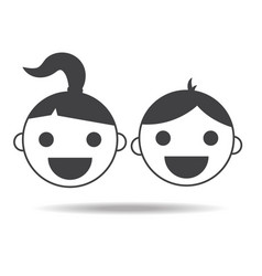 kids girl and boy childs icon isolated vector image