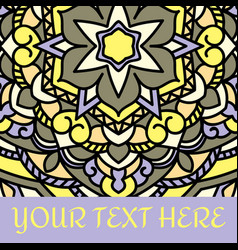 Leaflet with yellow mandala pattern and ornament vector