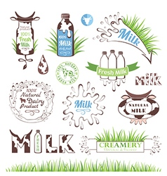 Milk products badges and labels vector