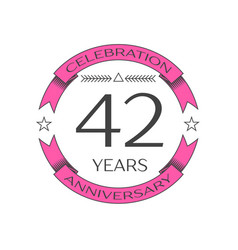 Realistic forty two years anniversary celebration vector