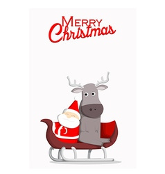Santa and reindeer Christmas background vector image
