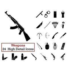 Set of 24 Weapon Icons vector image