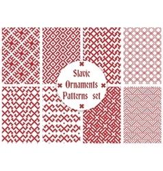 slavic ornaments patterns set vector image