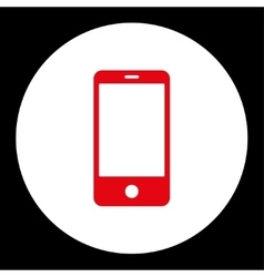 Smartphone flat red and white colors round button vector image