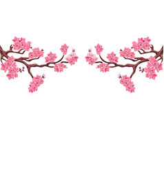 Two symmetrical branches with pink cherry blossoms vector