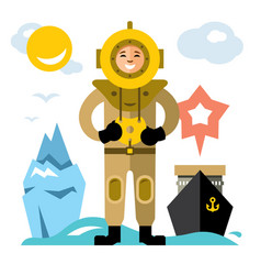 Underwater diving antique scuba diver vector
