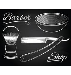 Vintage barber shop shaving straight razor vector