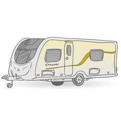 Towing caravan vector
