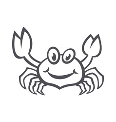 Crab sea food icon smile flat vector image