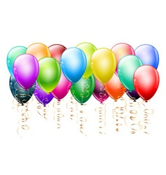 Colorful balloons with gold vector