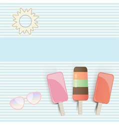 Three popsicles on striped background vector