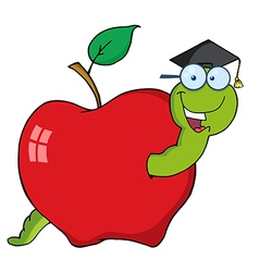 Graduate cartoon worm in apple vector
