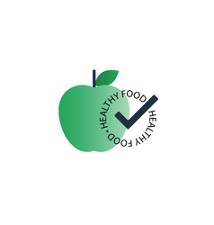 Green apple with healthy food seal icon vector