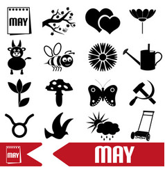 may month theme set of simple icons eps10 vector image