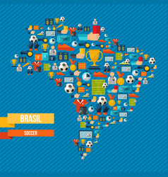 Brazil soccer map of sport game icons vector