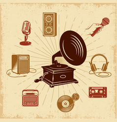 Karaoke vintage composition vector