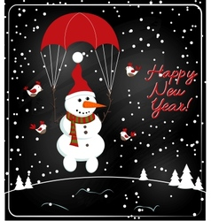 Christmas chalkboard decoration with snowman vector