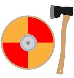 Viking shield and axe vector image