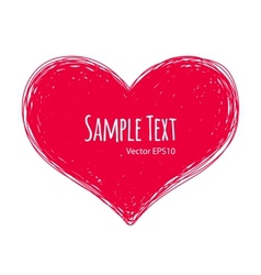 Pink doodle heart on white background vector