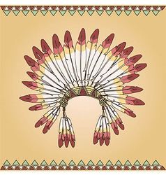 Hand drawn native american indian chief headdress vector
