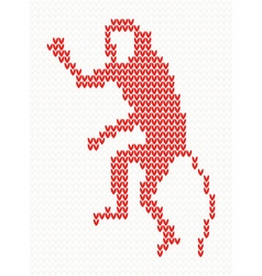 Knitted pattern with monkey vector image