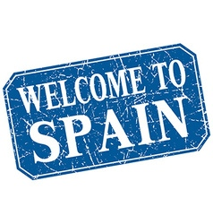 Welcome to spain blue square grunge stamp vector