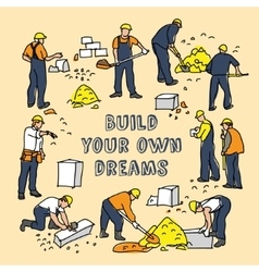Build dreams sign frame and construction worker vector