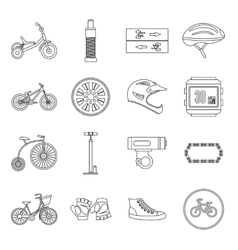 Biking icons set outline style vector
