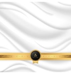 Elegant silk texture with gold ribbon and vip tag vector