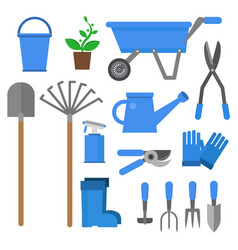 agricultural tools flat set vector image