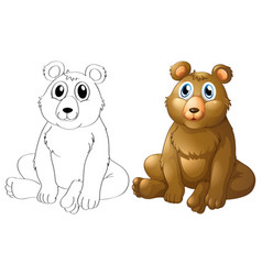Animal outline for grizzle bear vector