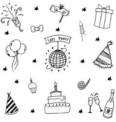 Birthday element doodle vector
