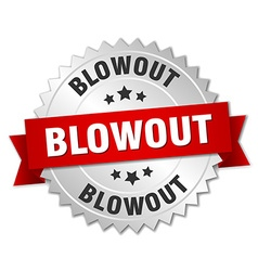 Blowout 3d silver badge with red ribbon vector