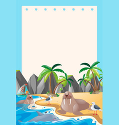 Border template with sea animals vector