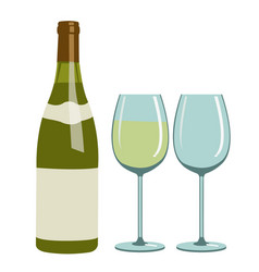 Bottle of white wine and wine glasses vector