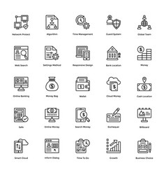 business and finance line icons 13 vector image