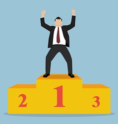 Businessman celebrates on winning podium vector