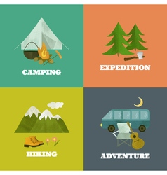 Camping template icons vector
