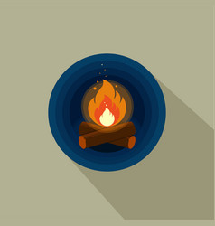 color icon of bright bonfire with firewood on dark vector image vector image