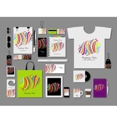 Corporate flat mock-up template colorful zebra vector