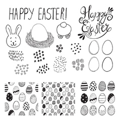 easter elements set vector image vector image