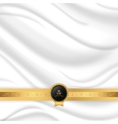 Elegant silk texture with gold ribbon and vip tag vector