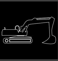 Excavator white color path icon vector