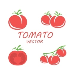 flat tomato icons set vector image vector image