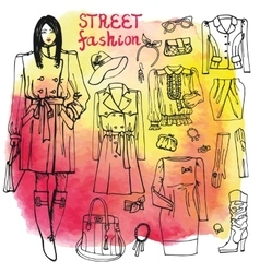 Girl and street fashion clothing setsketchy on vector